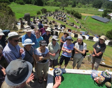 Tony Watkins explaining Dame Whina Coopers Grave site at the Panguru Marae